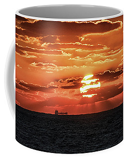 Coffee Mug featuring the photograph Dramatic Atlantic Sunrise With Ghost Freighter by Bill Swartwout Fine Art Photography