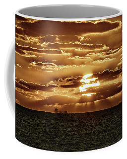 Coffee Mug featuring the photograph Dramatic Atlantic Sunrise With Ghost Freighter In Goldtone by Bill Swartwout Fine Art Photography