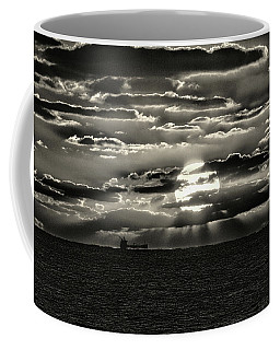 Coffee Mug featuring the photograph Dramatic Atlantic Sunrise With Ghost Freighter In Monochrome by Bill Swartwout Fine Art Photography