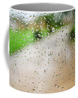 Drops Of Rain On An Autumn Day On A Glass. Coffee Mug