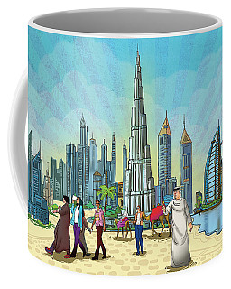 Coffee Mug featuring the painting Dubai Illustration  by Arttantra
