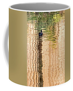 Coffee Mug featuring the photograph Duck On Reflections by Kate Brown