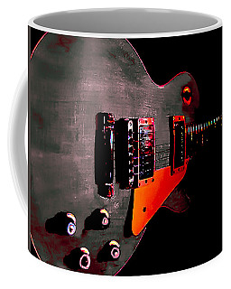 Coffee Mug featuring the digital art Ebony Relic Guitar Hover Series by Guitar Wacky