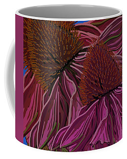 Coffee Mug featuring the drawing Echinacea Flower Blues by Joan Stratton