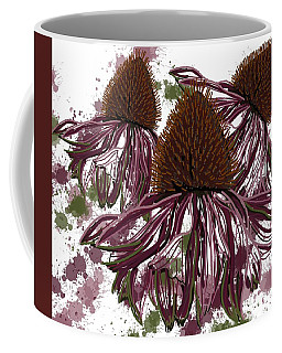 Coffee Mug featuring the drawing Echinacea Flowers Line by Joan Stratton