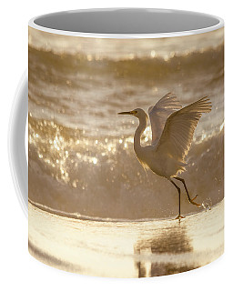 Egret At The Beach On A Sunny Morning Coffee Mug