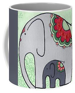 Elephant And Child On Green Coffee Mug