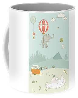 Coffee Mug featuring the photograph Elephant And Polar Bear Whimsical Art For Kids by Matthias Hauser