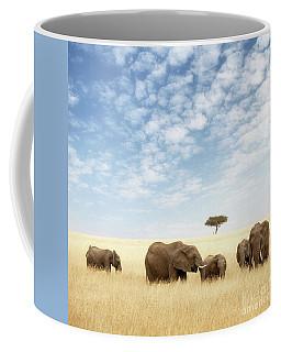 Elephant Group In The Grassland Of The Masai Mara Coffee Mug
