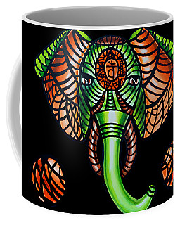 Zentangle Elephant Head Art Painting, Sacral Chakra Art, African Animal Tribal Artwork Coffee Mug