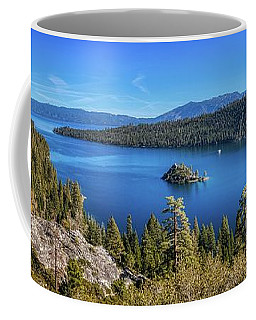 Coffee Mug featuring the photograph Emerald Bay And Fannette Island Panorama by Andy Konieczny