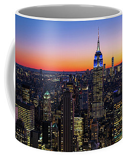 Empire State Building And Lower Manhattan At Sunset Coffee Mug