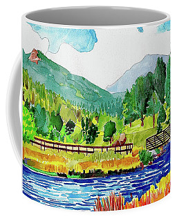Coffee Mug featuring the painting Evergreen Lake Spring Watercolor by Dan Miller