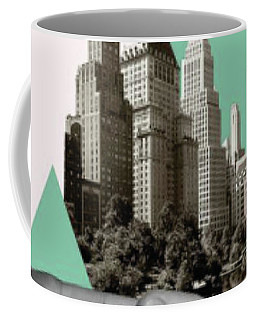 Coffee Mug featuring the painting Exquisite Buildings On Palm by Arttantra