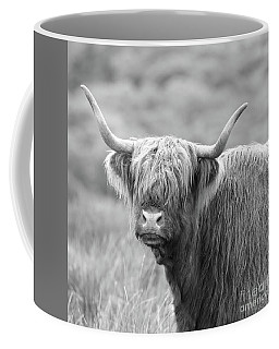 Coffee Mug featuring the photograph Face-to-face With A Highland Cow - Black And White by Maria Gaellman