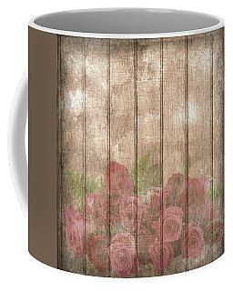 Faded Red Country Roses On Wood Coffee Mug