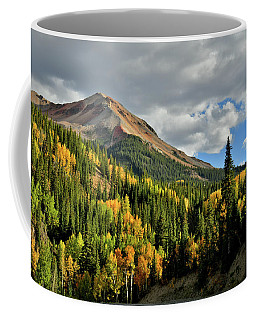 Fall Color Aspens Beneath Red Mountain Coffee Mug