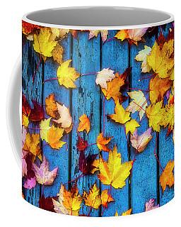Fall Leaves On Wooden Deck Coffee Mug