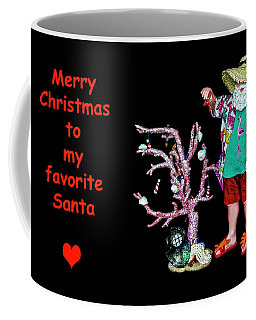 Coffee Mug featuring the photograph Favorite Tropical Santa Decorating The Christmas Tree by Kay Brewer