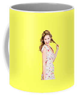 Female Model With Perfect Skin And Curly Hairstyle Coffee Mug
