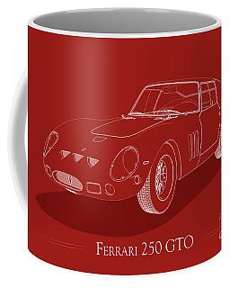 Ferrari 250 Gto - White Blueprint On Red Coffee Mug