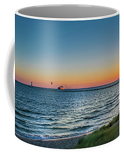 Ferry Going Into Sunset Coffee Mug