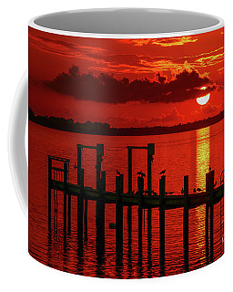 Coffee Mug featuring the photograph Fireball And Pier Sunrise by Tom Claud
