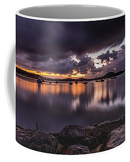 First Light With Heavy Rain Clouds On The Bay Coffee Mug