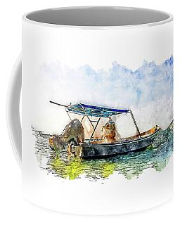 Fisherman's Boat In The Sea Watercolor Coffee Mug