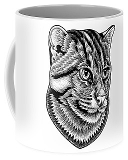 Fishing Cat  Ink Illustration Coffee Mug