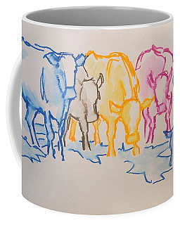 Five Cows Five Colors Watercolor Line Drawing Coffee Mug