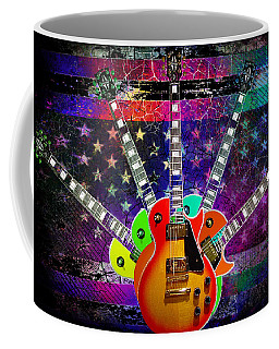 Coffee Mug featuring the photograph Five Guitars by Guitar Wacky