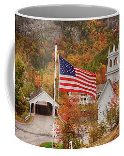 Flag Flying Over The Stark Covered Bridge Coffee Mug