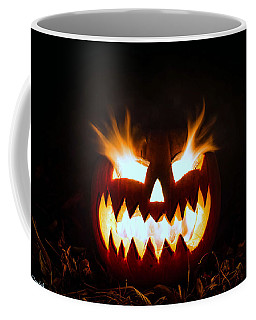 Flaming Pumpkin Coffee Mug