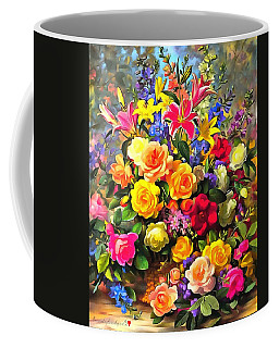 Coffee Mug featuring the digital art Floral Bouquet In Acrylic by Catherine Lott