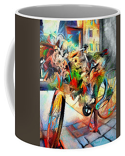 Coffee Mug featuring the digital art Flower Bike by Pennie  McCracken
