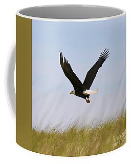 Flying Bald Eagle At Beach Coffee Mug