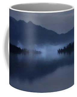 Fog On The Dark Mountain Lake Coffee Mug