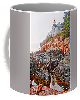 Foggy Bass Harbor Lighthouse Coffee Mug