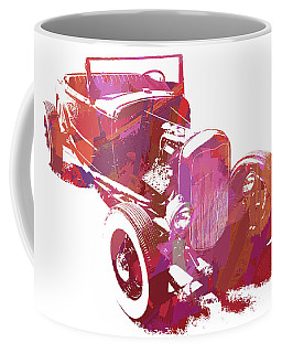 Coffee Mug featuring the digital art Ford Flathead Roadster Two Pop by David King