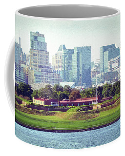 Coffee Mug featuring the photograph Fort Mchenry With Baltimore Background by Bill Swartwout Fine Art Photography