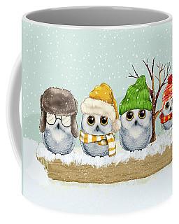 Four Winter Owls Coffee Mug