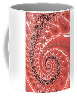 Coffee Mug featuring the digital art Fractal Spiral Living Coral by Matthias Hauser
