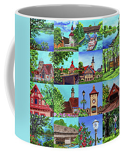 Frankenmuth Downtown Michigan Painting Collage I Coffee Mug
