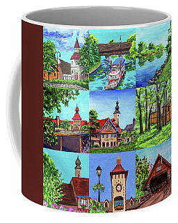 Frankenmuth Downtown Michigan Painting Collage IIi Coffee Mug