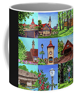 Frankenmuth Downtown Michigan Painting Collage Iv Coffee Mug