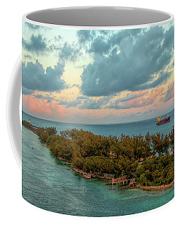 Freighter Off Paradise Island Coffee Mug
