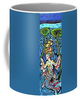 Freshwater Mermaid With Water Lilies At Night Coffee Mug