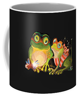 Coffee Mug featuring the painting Frogs Overlay  by Donna Hall