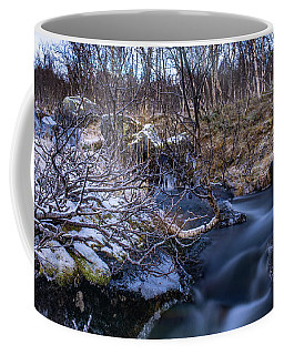 Frozen River And Winter In Forest Coffee Mug